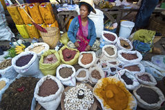 Vendor at Kalaw market, Myanmar Royalty Free Stock Photography
