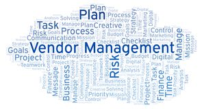 Vendor Management word cloud, made with text only. royalty free illustration
