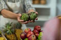 Vendor offering custard apples to the woman at the counter Stock Photos