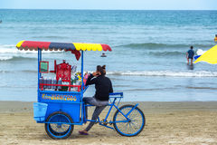 Vendor on Olon Beach Royalty Free Stock Images