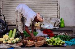 A vendor organizes his vegetables in Jaipur, India. A vendor organizes his vegetables in the shade in Jaipur, India royalty free stock photos
