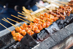 Vendor preparing chicken and beef barbecue satay on charcoal gri. Vendor preparing delicious barbecue chicken and beef satay on charcoal grille with shallow Stock Photography