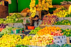 Vendor at produce stand Stock Photography