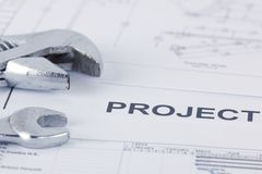 Vendor project documents with wrench royalty free stock images