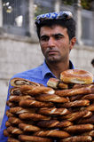 Vendor for selling bread. This image was taken in Istanbul. This bread is one of delicious food and travelers are able to purchase on the street. But need big Stock Photos