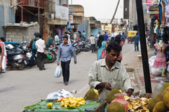 Vendor Selling Coconuts in Bangalore Royalty Free Stock Photos