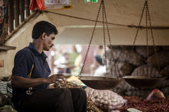Vendor selling fresh vegetables and fruits Royalty Free Stock Image