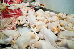 Vendor selling freshly slaughtered whole chicken in market stall. In Asia Royalty Free Stock Photography