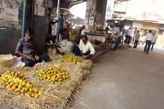 Vendor selling fruit on the open market Royalty Free Stock Photography