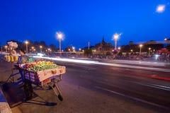 Vendor selling fruits at asian city. Phnom Penh, Camboda Royalty Free Stock Photos