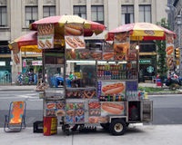 Vendor selling hot dogs and other snack foods in NYC Royalty Free Stock Image