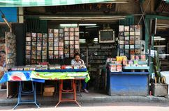 Vendor sells CD and movie on the street in Chinatown, Bangkok Stock Images