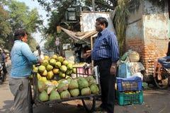 Vendor sells coconuts Royalty Free Stock Image