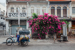 Vendor sells snacks from the tricycle in George Town, Penang, Ma Royalty Free Stock Photos