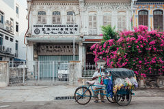 Vendor sells snacks from the tricycle in George Town, Penang, Ma Stock Image