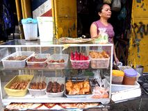 A vendor sells a variety of barbecues on stick in Antipolo City, Philippines Stock Photography