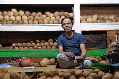 Vendor sits behind a large pile of coconuts  in New Market in Kolkata. Vendor sits behind a large pile of skinned brown coconuts  in New Market in Kolkata, India Stock Photography