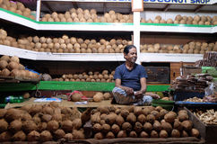 Vendor sits behind a large pile of coconuts  in New Market in Kolkata. Vendor sits behind a large pile of skinned brown coconuts  in New Market in Kolkata, India Stock Images
