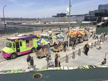 Food trucks at Hudson Yards royalty free stock images