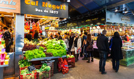 Vendors at Boqueria market. Barcelona Royalty Free Stock Photos