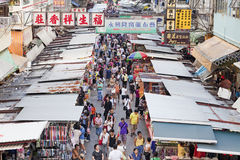Vendors in a busy street at MongKok, Hong Kong Royalty Free Stock Images