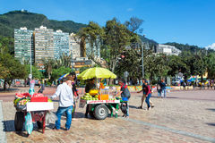 Vendors in Downtown Bogota Stock Image