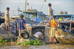 Vendors at the Floating market, Mekong Delta, Can Tho, Vietnam Royalty Free Stock Image