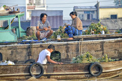 Vendors at the Floating market, Mekong Delta, Can Tho, Vietnam Royalty Free Stock Photography