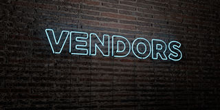VENDORS -Realistic Neon Sign on Brick Wall background - 3D rendered royalty free stock image. Can be used for online banner ads and direct mailers Royalty Free Stock Photos