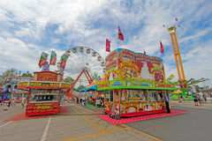 Vendors and rides on the Midway at the Indiana State Fair Stock Image