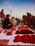 Vendors selling colours. During a festive gathering in north India stock images