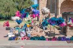 Vendors selling dusters made from ostrich feathers Royalty Free Stock Photography