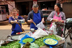 Pengzhou, China: Vendors Selling Peas Stock Photography