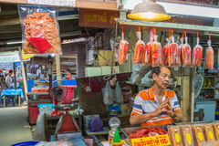 Vendors are selling some food at Don Wai Floating market. NAKORN PATHOM THAILAND MAR 13 : vendors are selling some food at Don Wai Floating market on 13 March Royalty Free Stock Photo