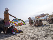 Vendors and Sunbathers on Ipanema Beach Rio Royalty Free Stock Photos