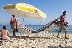 Vendors and Sunbathers on Ipanema Beach Rio Stock Photo