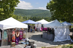 Vendors tents overlooking view at the Delaplane Strawberry Festival at Sky Meadows State Park in Delaplane, Virginia royalty free stock photo