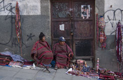 Vendors of traditional Aymara souvenirs in Bolivia Stock Images