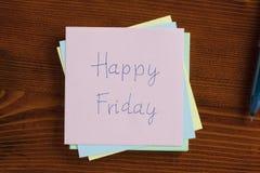 Vendredi heureux manuscrit sur une note Images libres de droits