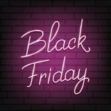 Vendredi noir Manuscrit au néon marquant avec des lettres Black Friday Fond au néon Illustration Stock