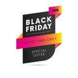 Vendredi noir Offre spéciale Cinquante pour cent hors fonction Temps limité seulement Vecteur illustration libre de droits