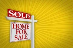 Vendu à la maison pour le signe de vente, éclat Photo libre de droits