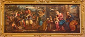 Venecia - adoración en unos de los reyes magos de Bonifacio de Pitati (1487 - 1553) de la sacristía del dei Frari de Santa Maria  Fotografía de archivo libre de regalías