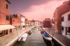 Venecia canal with boats and gondolas, Italy Royalty Free Stock Photo