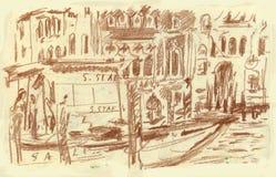 Venecia, canal magnífico stock de ilustración