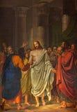 Venecia - Cristo entre los apóstoles de Sebastiano Santi (1828) en el dei Santi de Chiesa de la iglesia XII Apostoli Imágenes de archivo libres de regalías