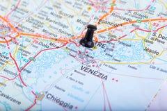 Venecia en el mapa italiano fijado Imágenes de archivo libres de regalías