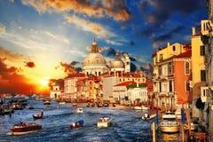 Venecia en puesta del sol Foto de archivo libre de regalías