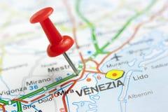 Venecia en un mapa Imagen de archivo libre de regalías