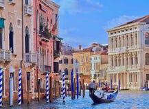 Venecia hermosa con una góndola en Canale grande imagen de archivo libre de regalías
